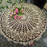 """Vintage Hand Crochet Lace Doily Table Topper Round Beige 27-40"""" TableCloth Cover"""
