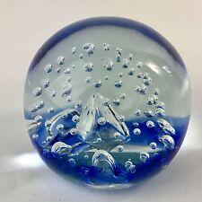 Studio Art Glass Blue Bullicante Paperweight