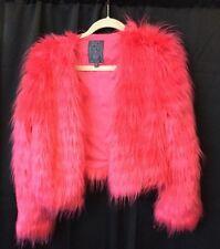 Guess Women's HOT PINK Fur Coat Puffer Designer Celebrity Jacket sz Small