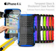 Apple iPhone 4S - Shockproof Strong Silicone Stand Case & Tempered GLASS