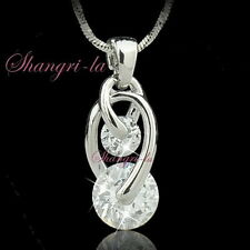 18K WHITE GOLD PLATED Ring PENDANT NECKLACE Gen with SWAROVSKI CRYSTAL NY2016