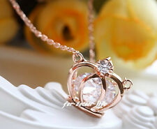18K Rose Gold Gp Austrian Crystal Crown Chain Pendant Jewelry Necklace AC373
