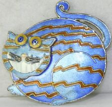Vintage 1990'S Sterling Silver Enamel Cat Pin Cheshire Grin Smile