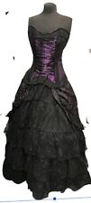 steampunk Victorian Gothic Satin Corset  With Full Skirt  Outfit s