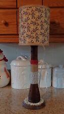 Folk Art Sock Monkey Table Lamp/Night Light/Primitive Beehive Textile Spool