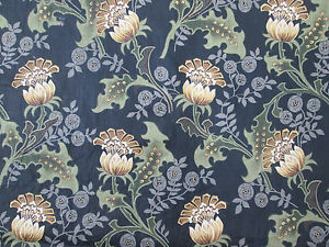 """Vintage Fabric Brown Flowers on Green and Blue Plants Quilting 3.5 Yards by 56"""""""