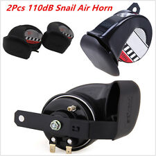 2Pcs Motorcycle Compact Motor ATV Loud 12V 510Hz 110dB Snail Air Horn Waterproof