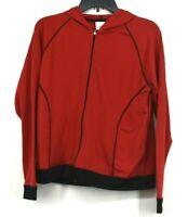 Villager Sportswear Womens Red & Black Zip Front Hooded Jacket Long Sleeve Sz S