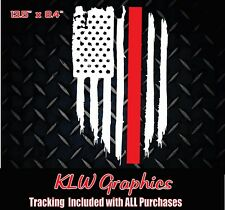 FireFighter thin Red line American flag Diesel Truck vinyl die cut sticker decal