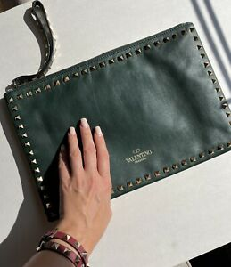 Valentino Garavani Rockstud Green Clutch Bag Wristlet Authentic Studded