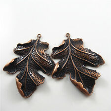 4pcs Vintage Copper Red Zinc Alloy Leaf Charms Pendant Jewelry Findings 51383