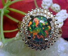 [ Gilson Lab Opal Triplet Ring 10mm & White Topaz 925 SS/Rose Gold Vermeil