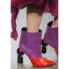 Women Pull On Pointed Toe Solid High Heel Punk Ankle Boots Plus Size Shoes UK8.5