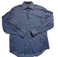 Bugatchi Uomo Mens Flip Cuff Check Blue Brown Long Sleeve Dress Shirt  Size 16