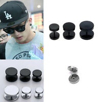 2PCS Fashion Men Boy Stainless Steel Round Barbell Ear Stud Men Earrings Jewelry