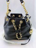 NWT Michael Michael Kors Frankie Leather Medium Drawstring Messenger Bag Black