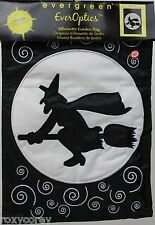 Halloween Evergreen EverOptics Here Comes Witch Silhouette Garden Flag 18x12