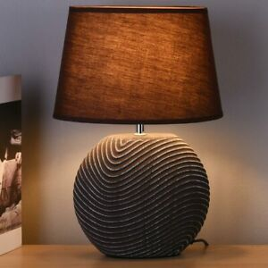 Lampada da Tavolo Lume Comodino Ceramica Tessuto Coffee Design Moderno Abatjour