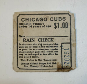 Chicago Cubs Wrigley Field Child's Ticket Stub Rain Check $1 Vintage 70s 162029