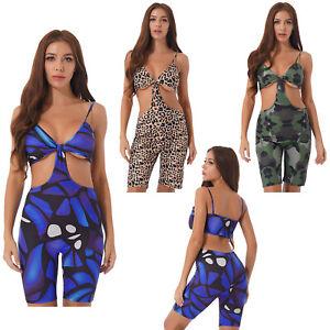 Women Leopard Camouflage Print Jumpsuit Short Leopard Sports Yoga Cutout Rompers