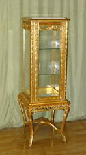GLASS CASE BAROQUE STYLE GOLD GLASS CASE WITH MARBLE TOP # MB350