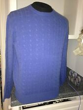 NWT Alan Flusser $278 Bayside Blue Warm Cashmere Cable Knit  Sweater XXL XXLarge