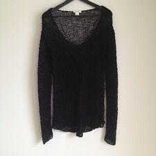 Helmut Lang black mesh open knit asymmetrical sweater size M