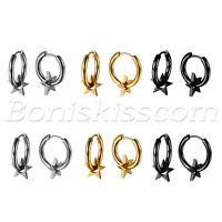 2pcs Men's Women's Charm Round Pentagram Huggie Hinged Hoop Ear Studs Earrings