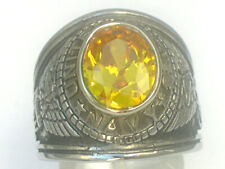 United States Navy Military November Yellow Stone Stainless Steel Men Ring 10