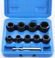 10pc Twist Sockets Locking Wheel Nut Remover Non Slip Broken Studs Rounded Bolts