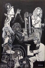Rare Led Zeppelin Classic Rock Band 24x36 in. Signed numbered by Bradford 96/250