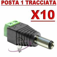 10 X CONNETTORE SPINOTTO ALIMENTAZIONE FEMMINA A VITE RAPIDO PER TELECAMERE LED