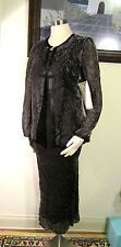 Set of 2 NWT Laura Ashley Silk Gunmetal Black Jacket and Dress US 4 UK 8 EUR 34
