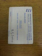1975/1976 Birmingham City: Official Club Headed Postcard - Admit Holder/Bearer A