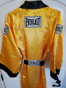 Men's Professional Everlast Boxing Robe Gold Black Small S New