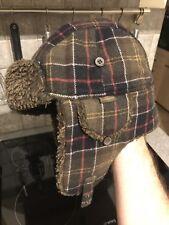 Lovely genuine Barbour Mens large Wool Blend Winter tartan trapper Hat