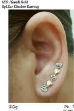 Gold Authentic 18k gold heart two tone climber earring,,,zxc
