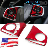 Red Steering Wheel Switch Frame Cover Trim For fit Honda Civic 2016-2020 10th