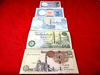 EGYPTIAN MONEY 5 PCS SET UNCIRCULATED PAPER MONEY