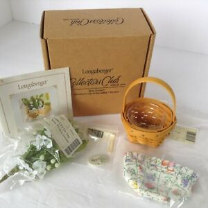 Longaberger Miniature Lily Of The Valley Basket Set May Series w/ Flowers NIB