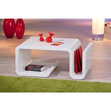 Table basse table de salon design moderne avec rangements BLANC BRILLANT