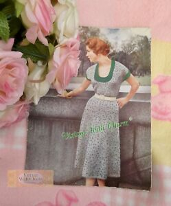 Vintage 50s Knitting Pattern Lady's Dress. 3 Sizes, 34-38in. Bust