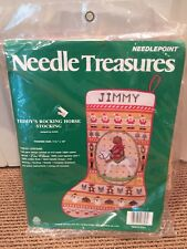 Needle Treasures Needlepoint Kit Christmas Teddy's Rocking Horse Stocking Santa
