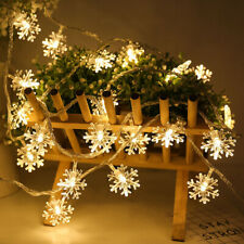 LED Christmas Snowflake Garland String Fairy Lights Outdoor 6M10M 20M 30M