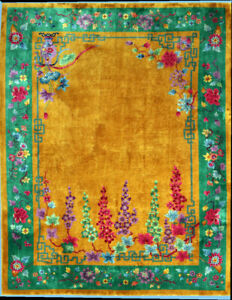 """A 2nd To None Gold ground 8'-7"""" x 11'-4"""" Art Deco Chinese Rug 'Now $3999.00"""""""