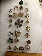 Lot Retro 50's Goldtone Lucky Charms 4 Leaf Clovers and Horses