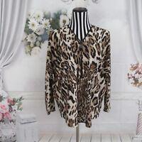 Ariella Animal Print Long Sleeve Neck Zipper Blouse Top Size L