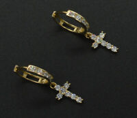 2.50CT Round Cut Diamond Huggie Cross Dangle Earrings 14K Yellow Gold Finish