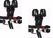 "PRP 5 Point Harness 3"" PAIR Ratcheting Harness BLACK Polaris RZR XP Turbo 1000"