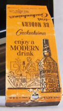 Rare Vintage Matchbook Cover Guckenheimer Whiskey Modern Enjoy Drink Liquor A3